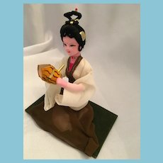 """Sitting Chinese Lady 5"""" Souvenir Doll with a Painted Face"""