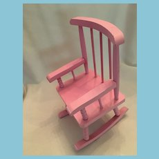 circa 1980s Pink Wooden Dolly Rocking Chair