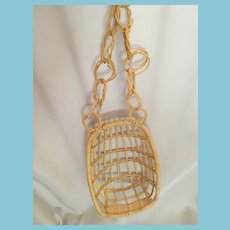 Circa 1970s Rattan Dolly Hanging Chair