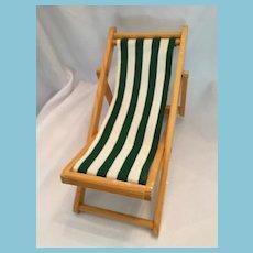 Circa 1960s Striped Cotton Folding Dolly Beach Chair