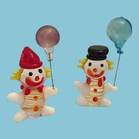Mid-century Miniature Pair of Hand-made Blown Glass Clowns with Balloons