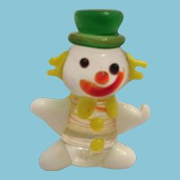Mid-Century Miniature Hand-made Blown Glass Clown