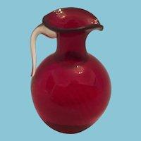 Mid-Century Miniature Hand-crafted Blown Glass Cranberry Art Glass Pitcher