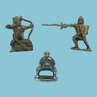 Group of 3 Pewter and Metal Miniature Warrior Figurines