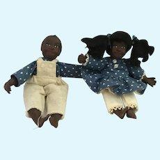 "Vintage Pair of Hand-painted  Porcelain 6"" Black Fraternal Twins"