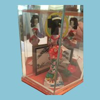 Mid-century Japanese Lady Doll in Mirrored Display Box