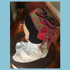 Circa 1920s Chinese Infant Silk Embroidered Tiger Bonnet