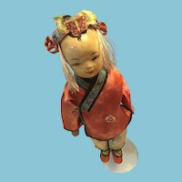 Early 20th century 14 inch Paper Mache Doll in Traditional Chinese Costume
