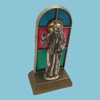 Circa 1970s Miniature Pewter Religious Figurine and Church  Window