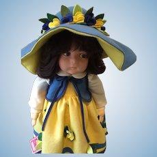 "Beautiful Side Glancing Lenci 20"" Debora Felt Doll with 1980 Framed Certificate"