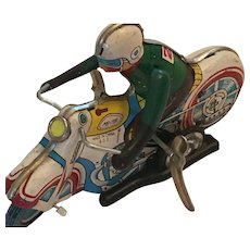 1950s Wind-up, Fully Functioning, All-tin Toy Motorcycle and Rider