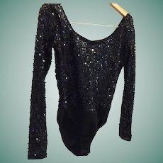 Amazing Circa 80's Donna Karan Black Sequin Medium Bodysuit