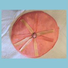 1930's - 40s Handmade, Peach-colored, Slipper Satin Keepsake Pocket.