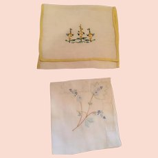 Circa 40s Seamstress-made Pocket and Embroidered Handkerchief