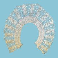 Circa 1930s - 40's OOAK White Hand Crocheted Collar