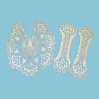 1930s - 40's OOAK White Hand Crocheted Jabot with Matching Cuffs