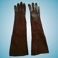 "Circa 1950s Oberon, Paris 15"" Brown Kid Leather Gloves"