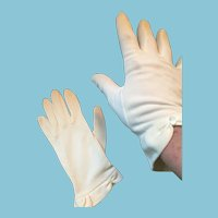 Circa 1950s Dainty Soft White Nylon Gloves