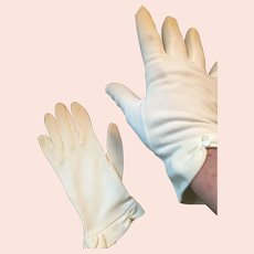Circa 1950s Dainty Soft White Nylon Gloves
