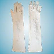 "1950s-60s 15"" Parklane White Cotton Velour Gloves"