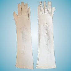 "1950s-60s 15"" Parklane White Cotton Velour Gloves"