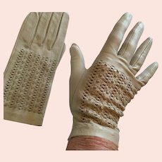 1950s-60s New Size 7 Beige Soft Kid Gloves