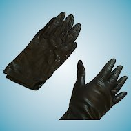1950s-60s Real Italian Size 37 Short Black Kid Gloves