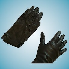 1950s-60s Real Italian Size 37 Short Black Kid Gloves