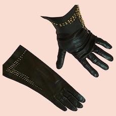 1950s-60s 'Markid' Black Leather Gloves with Brass Studs