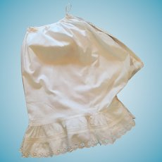 1880 to 1900 White Cotton Crotchless Bloomers.