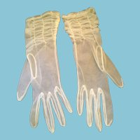 1940s- 50s Soft, See-Through, White Nylon Gloves