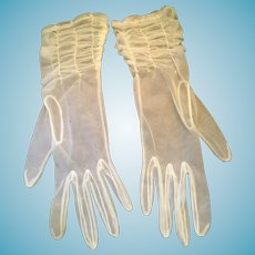1940s- 50s Soft, See-Through, White Nylon Gloves