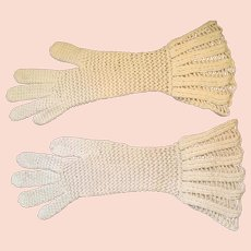 1930s- 40s OOAK Crocheted Ecru Colored Gauntlet  Gloves.