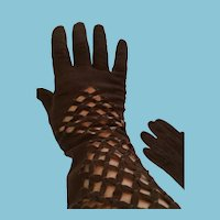 """1950s- 60s 15"""" Brown Suede Gloves from France"""