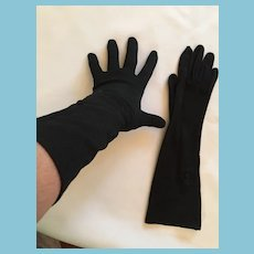 "1950s- 60s 13"" 'Paris' Embellished Black Nylon Gloves"