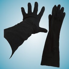 "1950s- 60s 13"" 'Paris' Embellished Black Nylon Gloves"