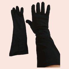 "1950s- 60s 13"" Embellished 'Paris' Black Nylon Gloves"