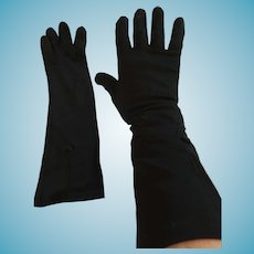 "1950s- 60s 13"" Embellished 'Paris' Black Nylon Gloves"