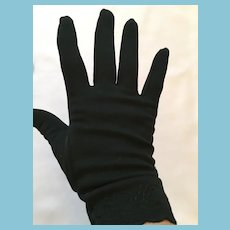1950s- 60s Wrist Length Embroidered Size 6 1/2 Black Gloves
