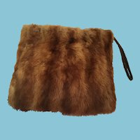 1930s Large Matched Mink Muff with Ruched Brown Taffeta Lining