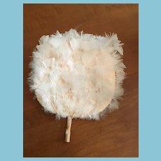 "Circa 1950s 10"" in Diameter White Feather Circular Fan"