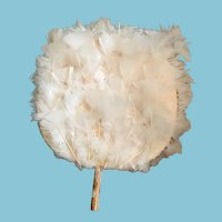 "Circa 1950s 10"" in Diameter White Feather Circular Fan"