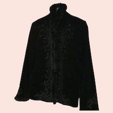Rare Vintage Black Velvet Fur-Trimmed Jacket by Canadian Designer Spanner