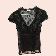 Circa 1980s Black Chantilly Lace Evening Jacket by Canadian Fashion Designer Laura