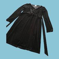 Circa 1980s Little Black Velvet Dress by New York Designer Anne Klein