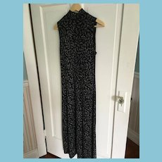Circa 1990s Black Spandex Blend Glittering Floor-Length Dress by Ronni Nicole.