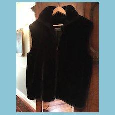 'FURROCIOUS' Black Plush Faux Beaver Fur Zip Up Vest
