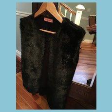 'Tous Les Garcons' Italian Black Faux Fur with Sweater Back Vest