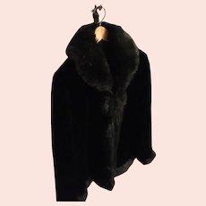 Circa 80s Black Faux Sheered Beaver Trimmed Fur Jacket