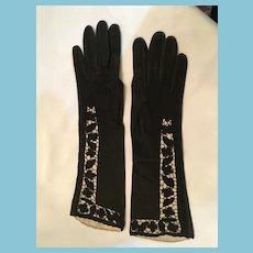 Circa 1950s- 60s Luxury Black Kid Elbow Length Gloves by Austin